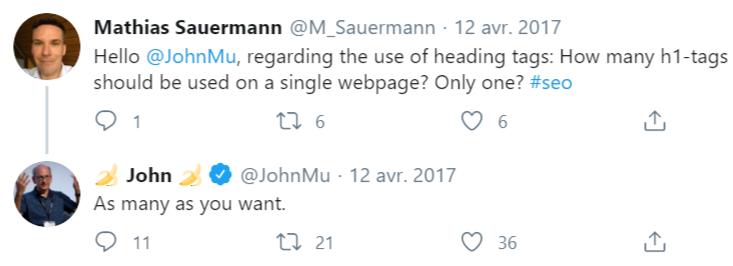 combien de h1 utiliser par page