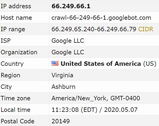 Exemple d'une IP et d'une machine de Google