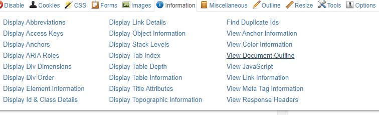 webdeveloper toolbar et H1