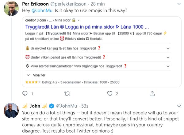 Emoji, Title et Google
